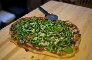 Arugula and Gruyere pizza