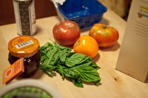 Fig spread, basil and heirloom tomatoes