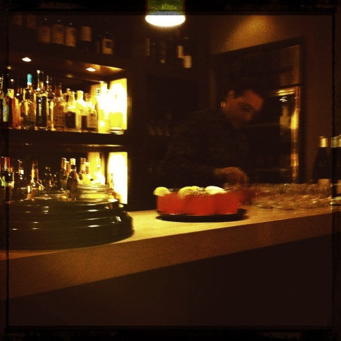 Massimo Di Vuolo behind the bar at Due Lire